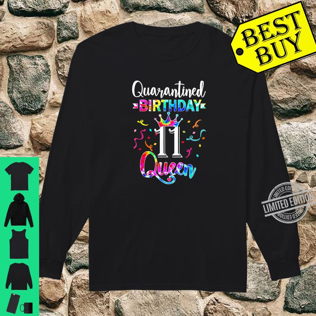11th Quarantine birthday Queen with art Tie dye for Girs Shirt long sleeved