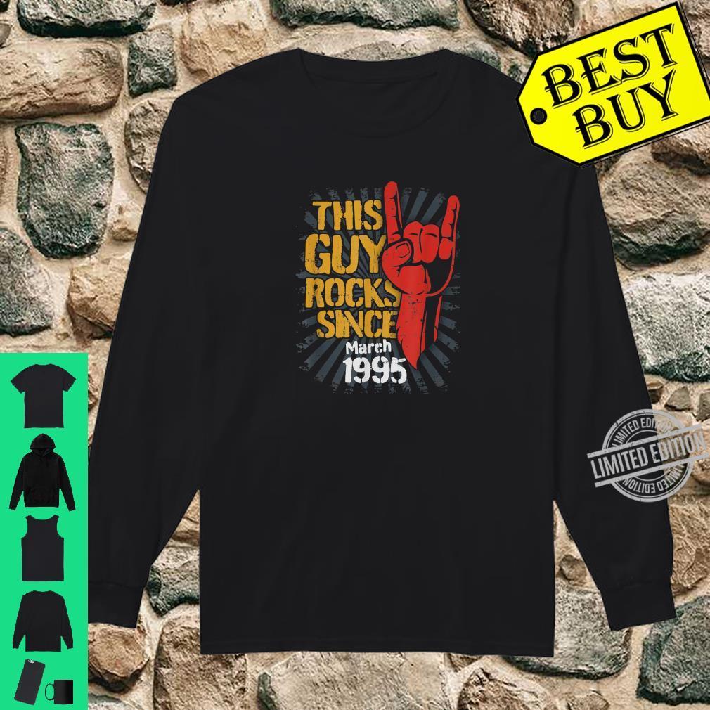 25th Birthday Born in March Guy Rocks since 1995 Shirt long sleeved