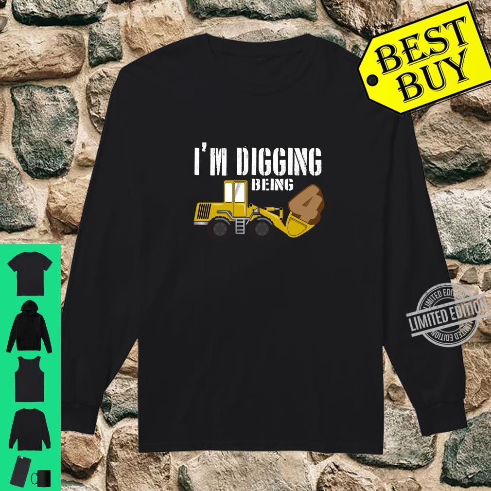 4th Birthday Shirt Construction Shirt, 4 Year Old Bday Shirt long sleeved