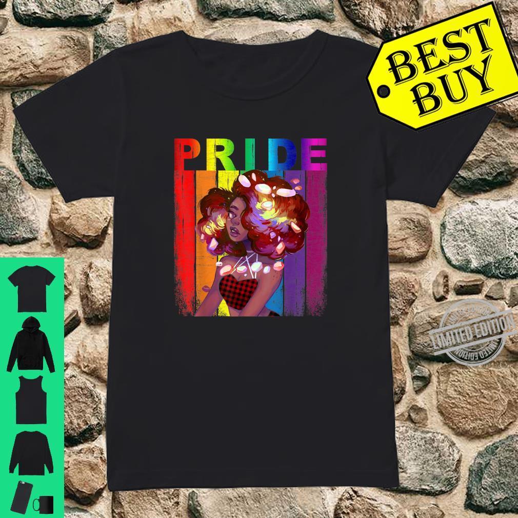 African American Gay Pride LGBT Rainbow Red Plaid Bandana Shirt ladies tee
