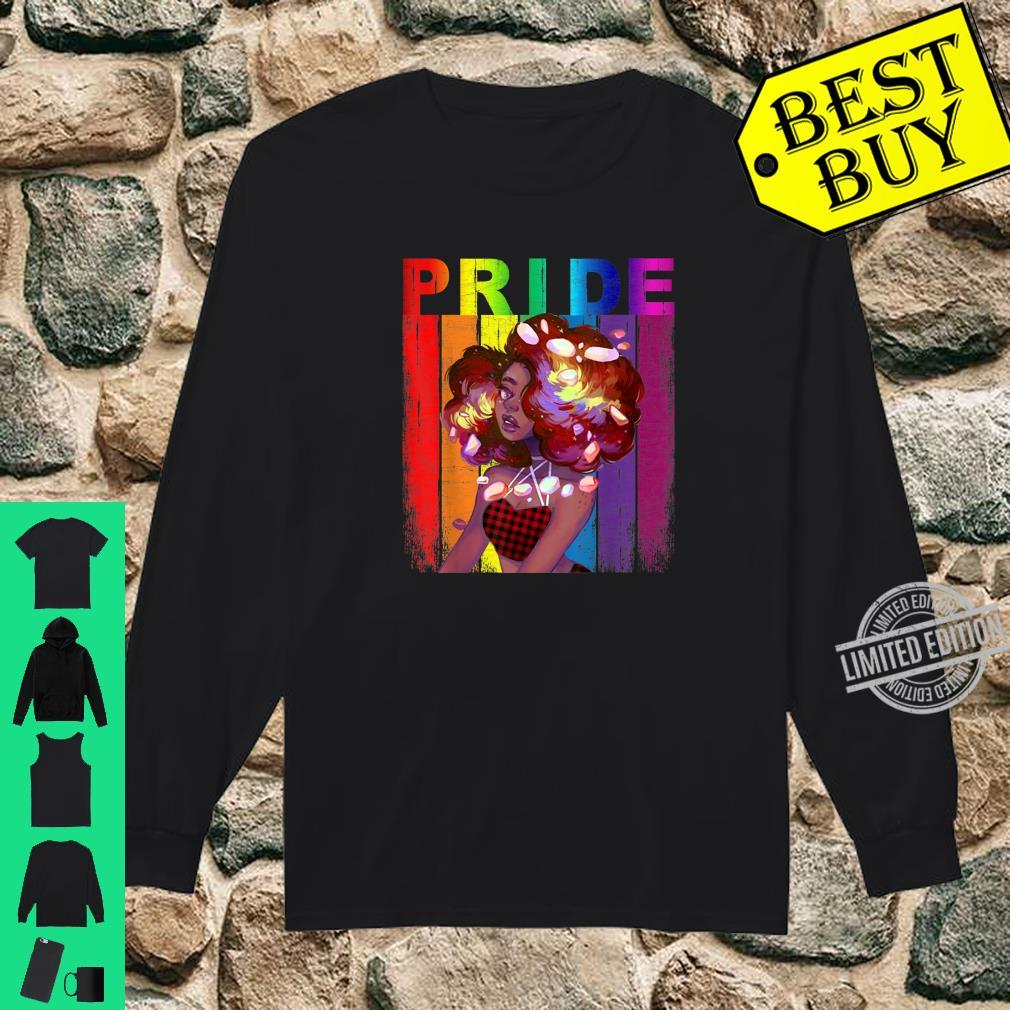 African American Gay Pride LGBT Rainbow Red Plaid Bandana Shirt long sleeved