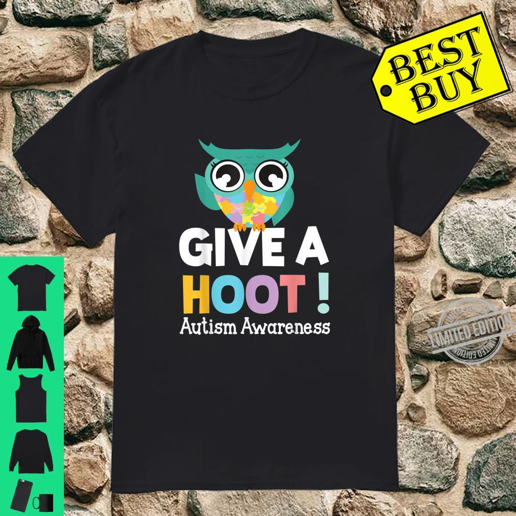 Autistic Owl Dancing Give A Hoot Autism Awareness Month Day Shirt