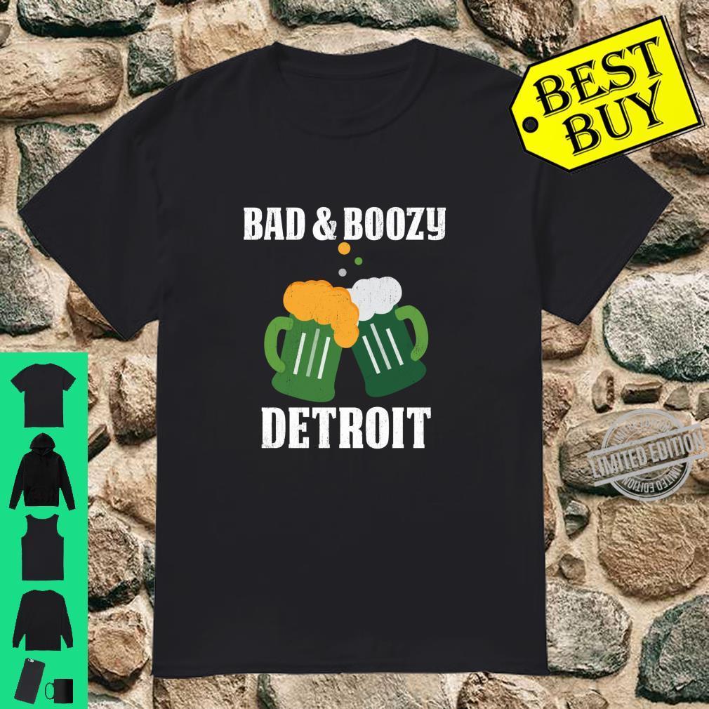 Bad And Boozy In Detroit Green Beer Mugs St Patricks Day Shirt