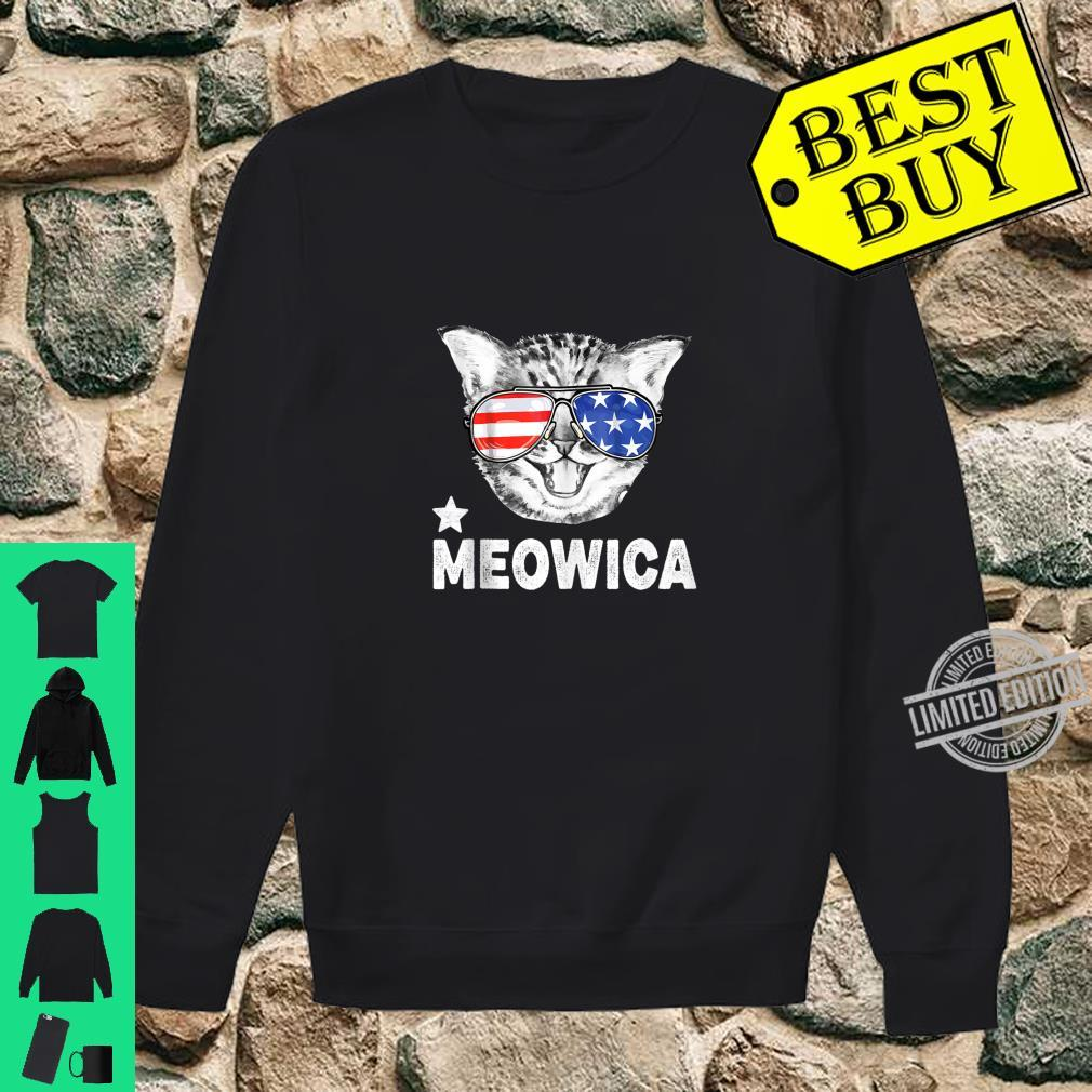 Cat Meowica Meow Sunglasses 4th of July US Flag Shirt sweater
