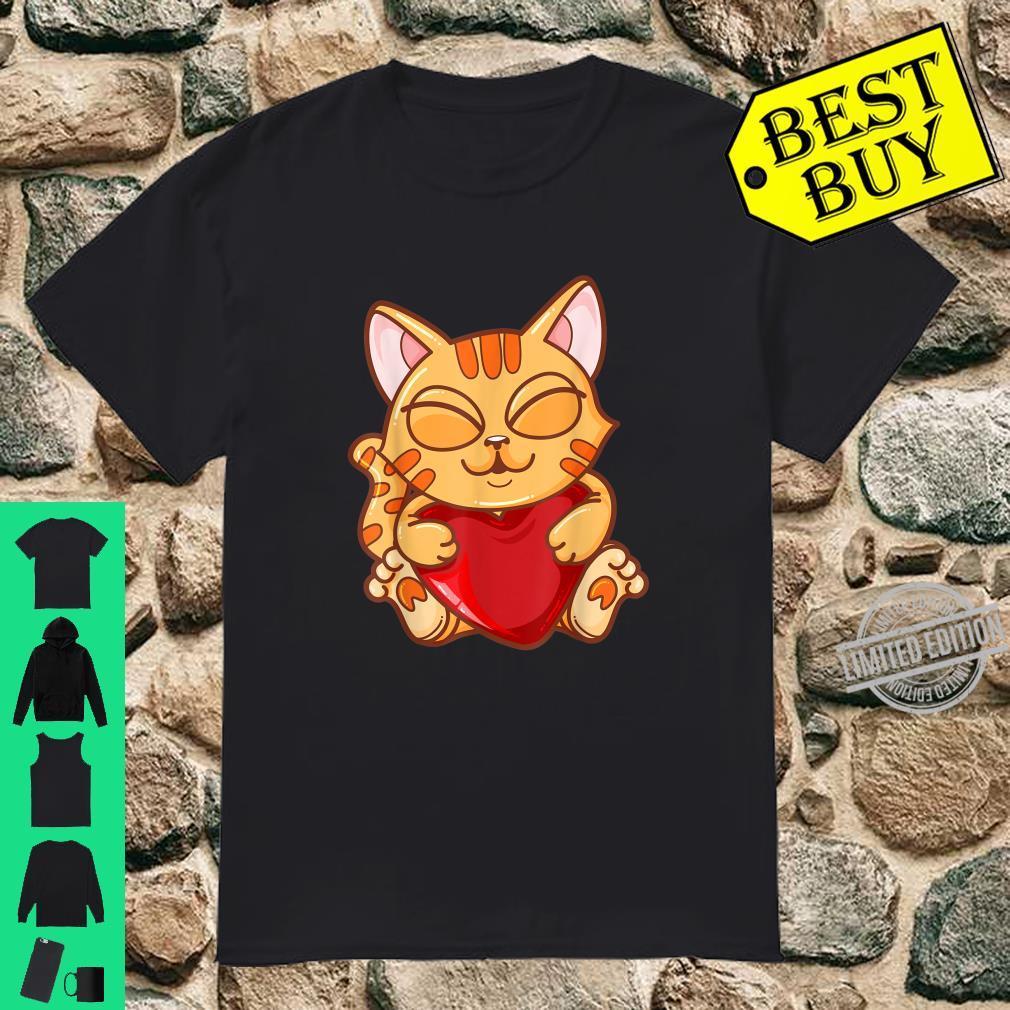 Cute Cartoon Holding Heart Anime Cat Shirt