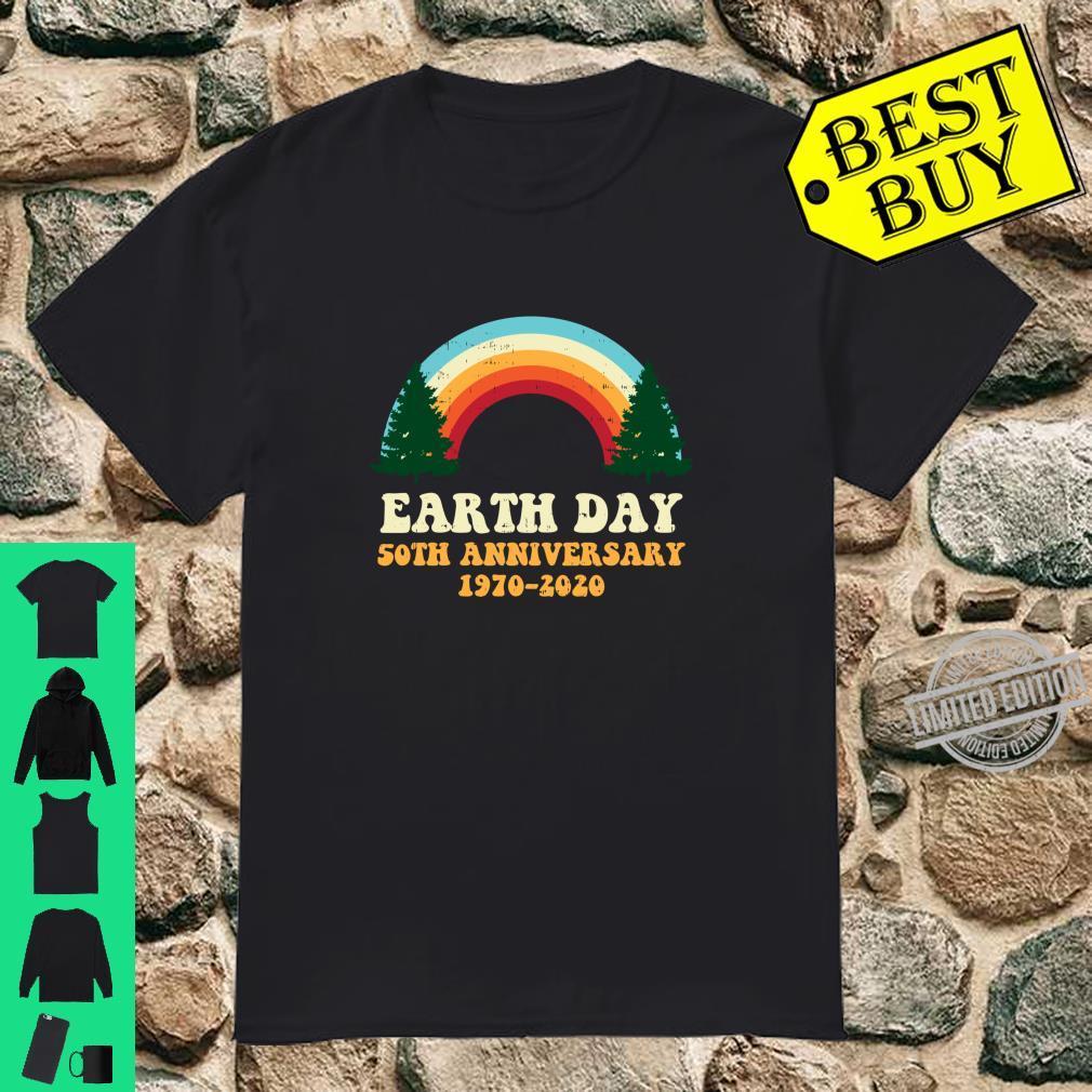 Earth Day 2020 50th Anniversary Trees Rainbow Retro Langarmshirt Shirt