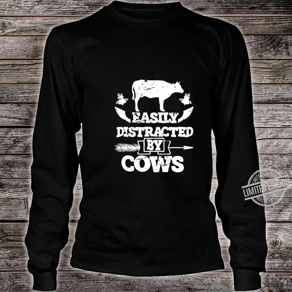 Easily Distracted by Cows Farmers Loves Cow Christmas Shirt long sleeved