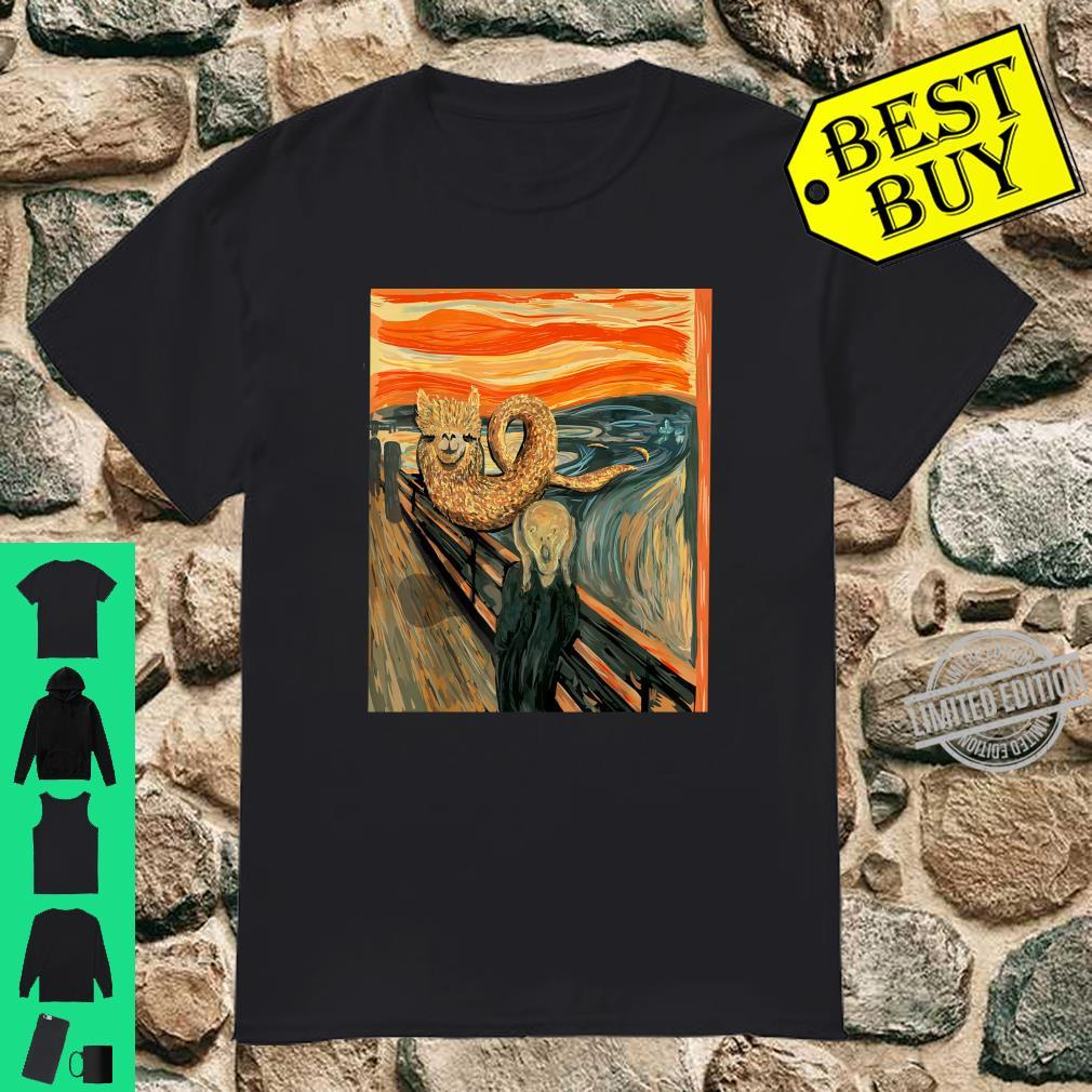 Funny Llama Loch Ness Monster The Scream Mashup Cryptid Shirt
