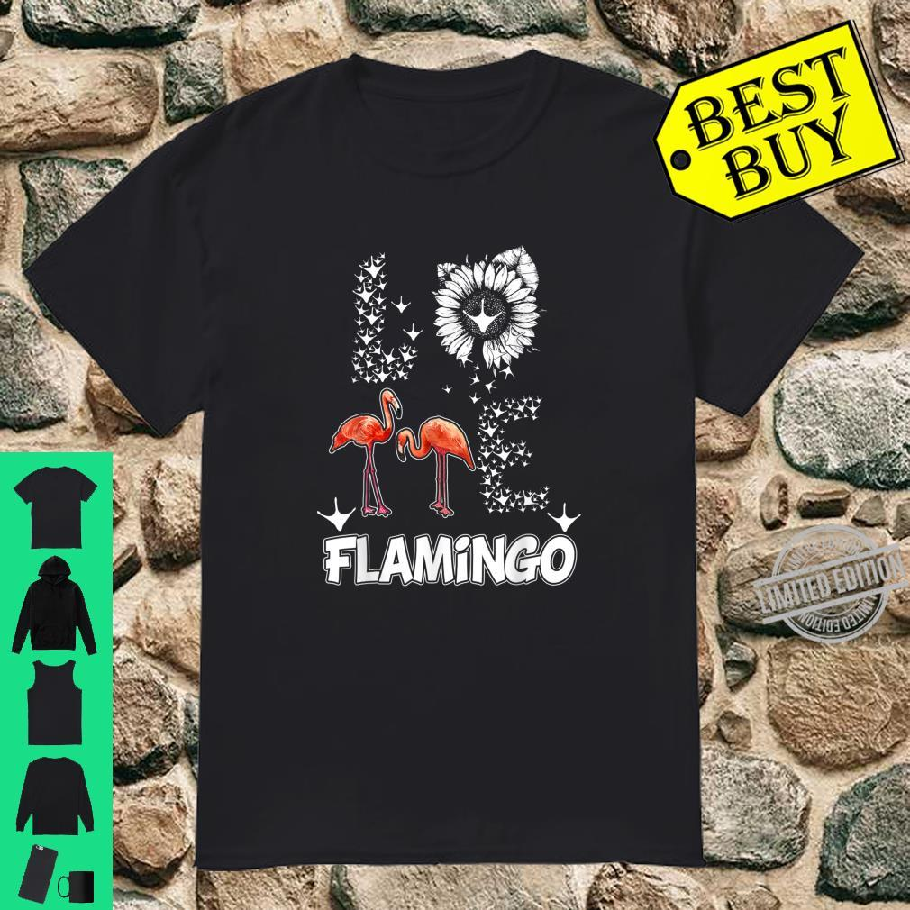 I Love Flamingo Paw Footprint Sunflowers Birds Novelty Shirt