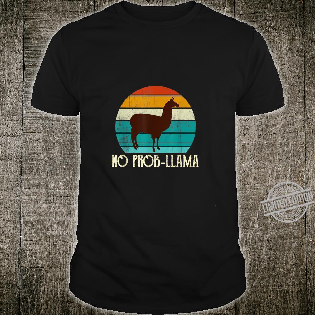 No ProbLlama Retro Alpaca Geschenk Mädchennager Frauen Shirt