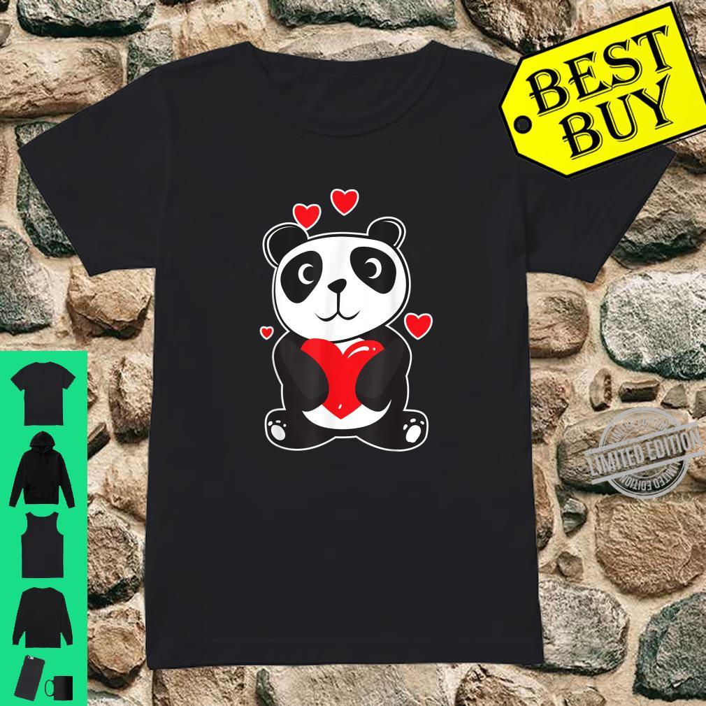 Official Panda Love Cute Hearts Panda Cuddle Design Bear Shirt ladies tee