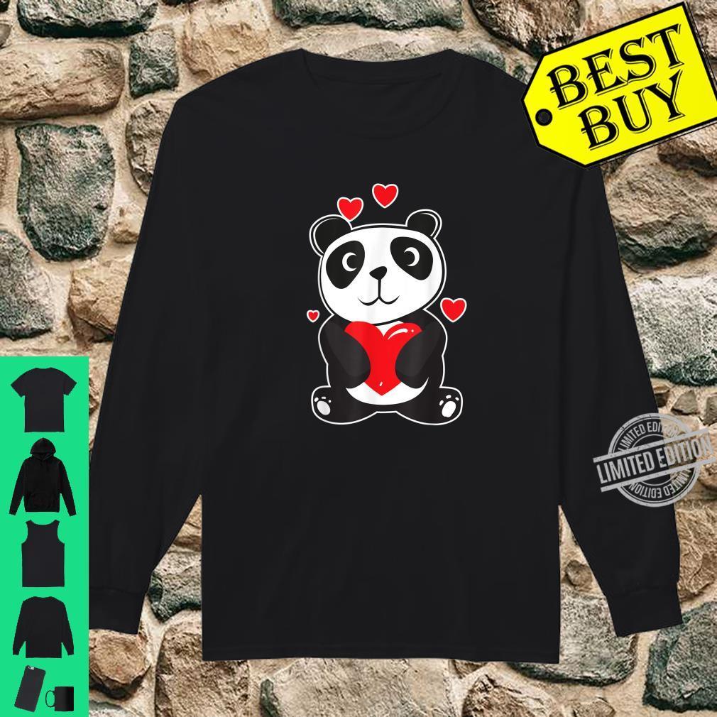 Official Panda Love Cute Hearts Panda Cuddle Design Bear Shirt long sleeved