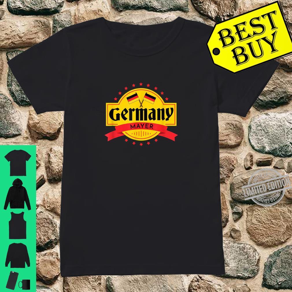 Oktoberfest Mayer Germany Flag Last Name Word Shirt ladies tee