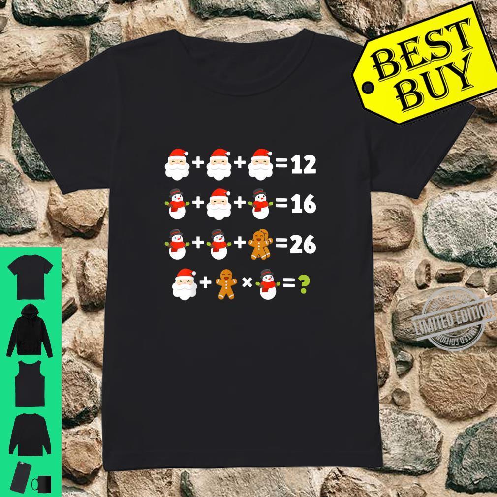 Order of Operations Santa Snowman Christmas Xmas Math Quiz Shirt ladies tee