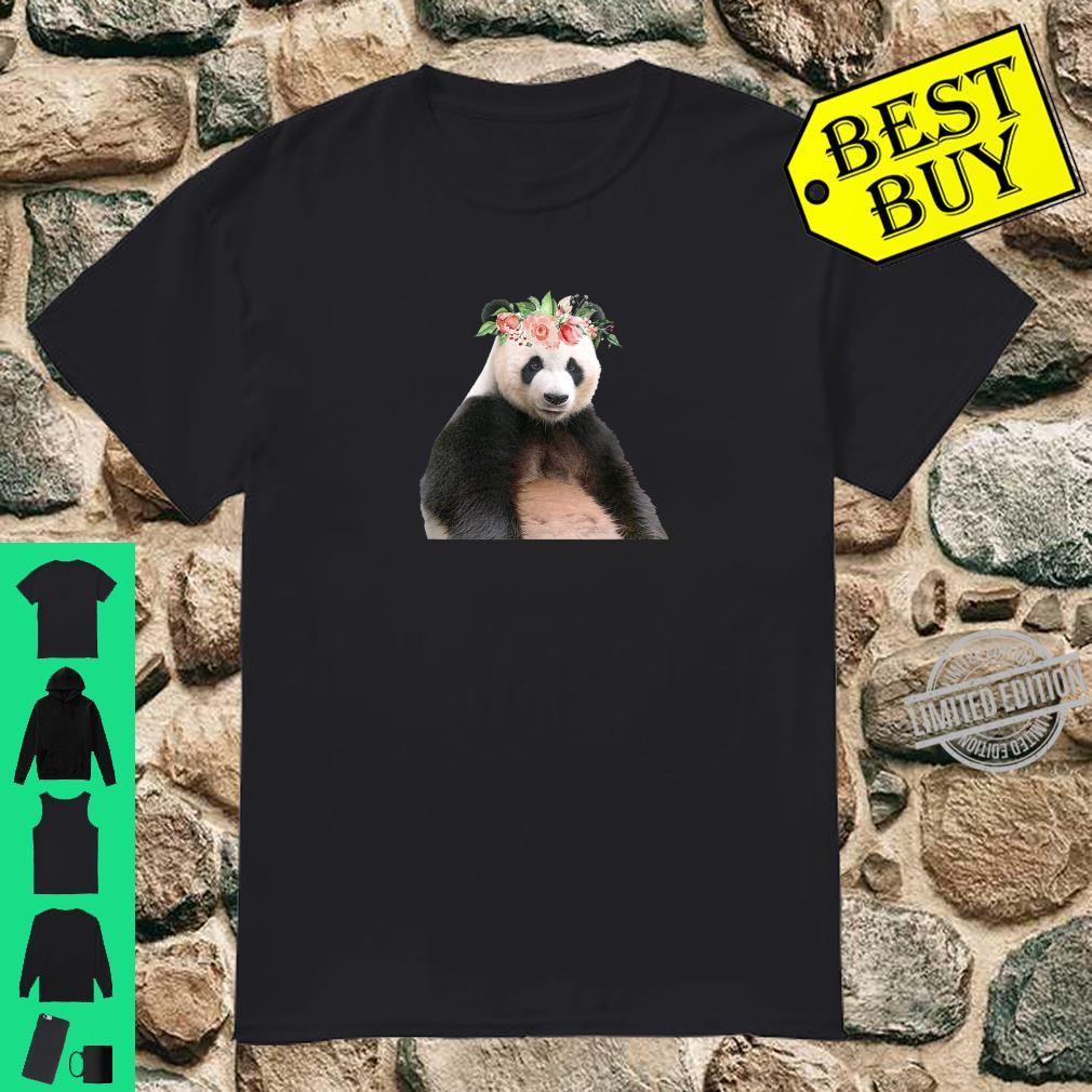 Panda Bear Floral Crown Flowers Cute Animal Shirt