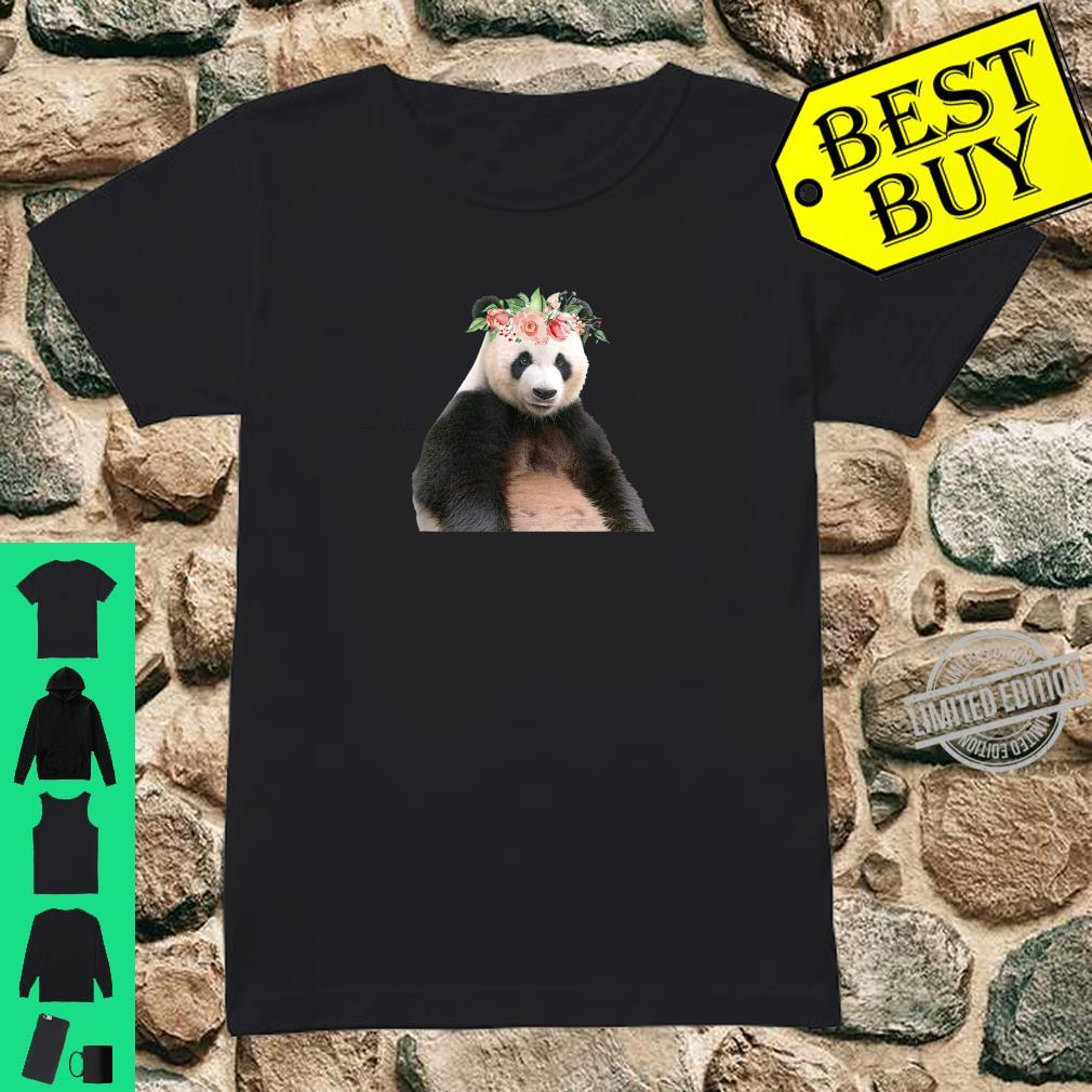 Panda Bear Floral Crown Flowers Cute Animal Shirt ladies tee