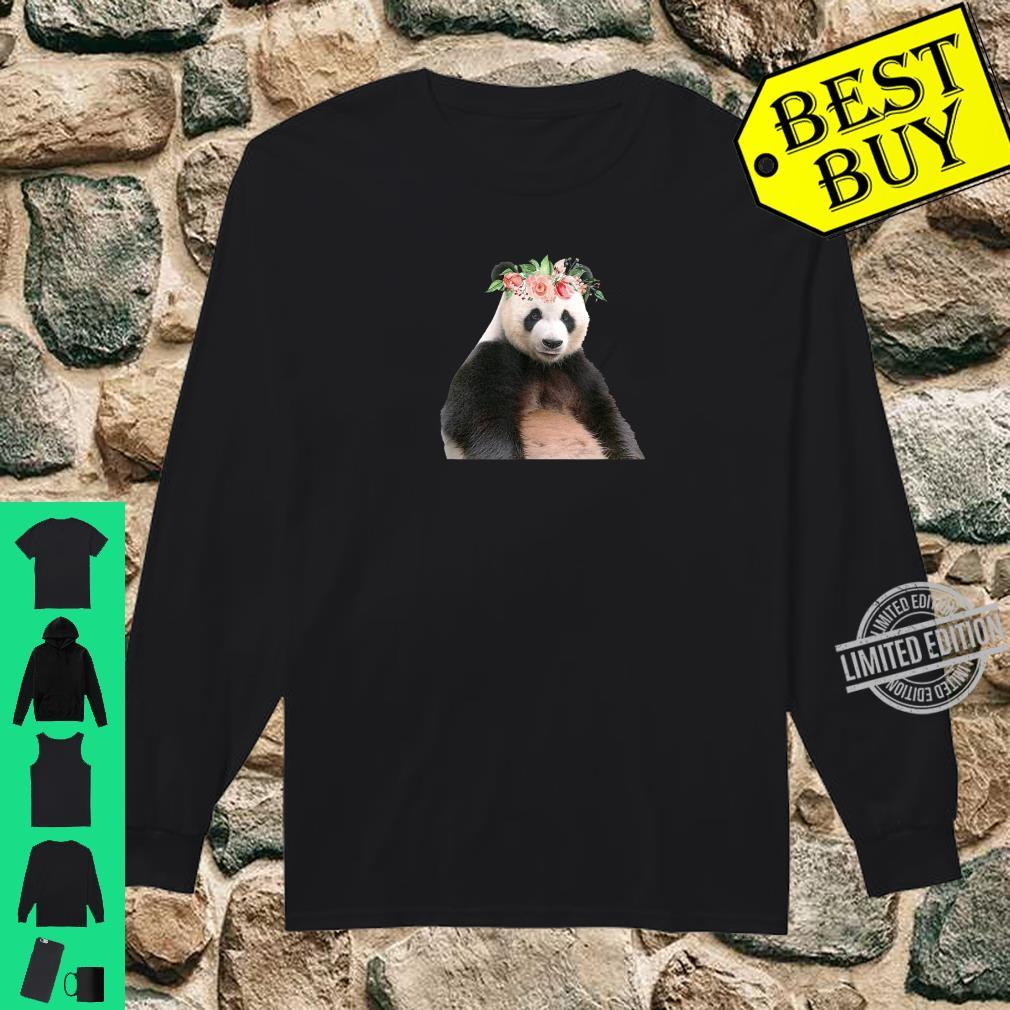Panda Bear Floral Crown Flowers Cute Animal Shirt long sleeved