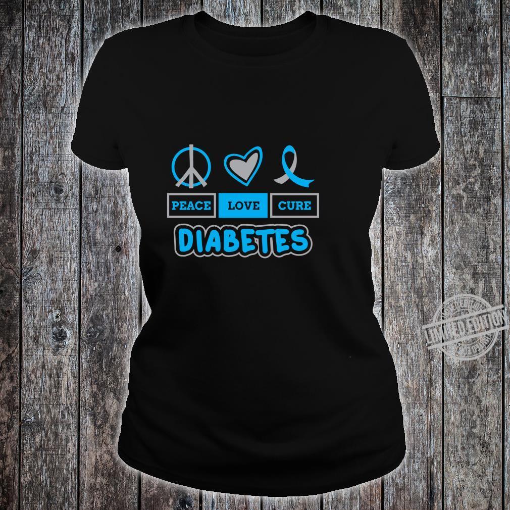 Peace Love Cure Diabetes Awareness Type 1 Blue Grey Ribbon Shirt ladies tee
