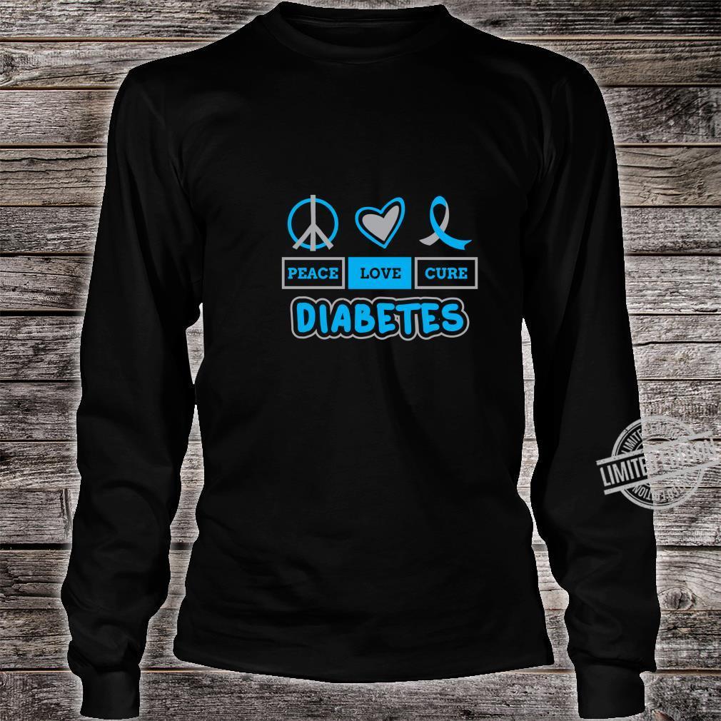 Peace Love Cure Diabetes Awareness Type 1 Blue Grey Ribbon Shirt long sleeved