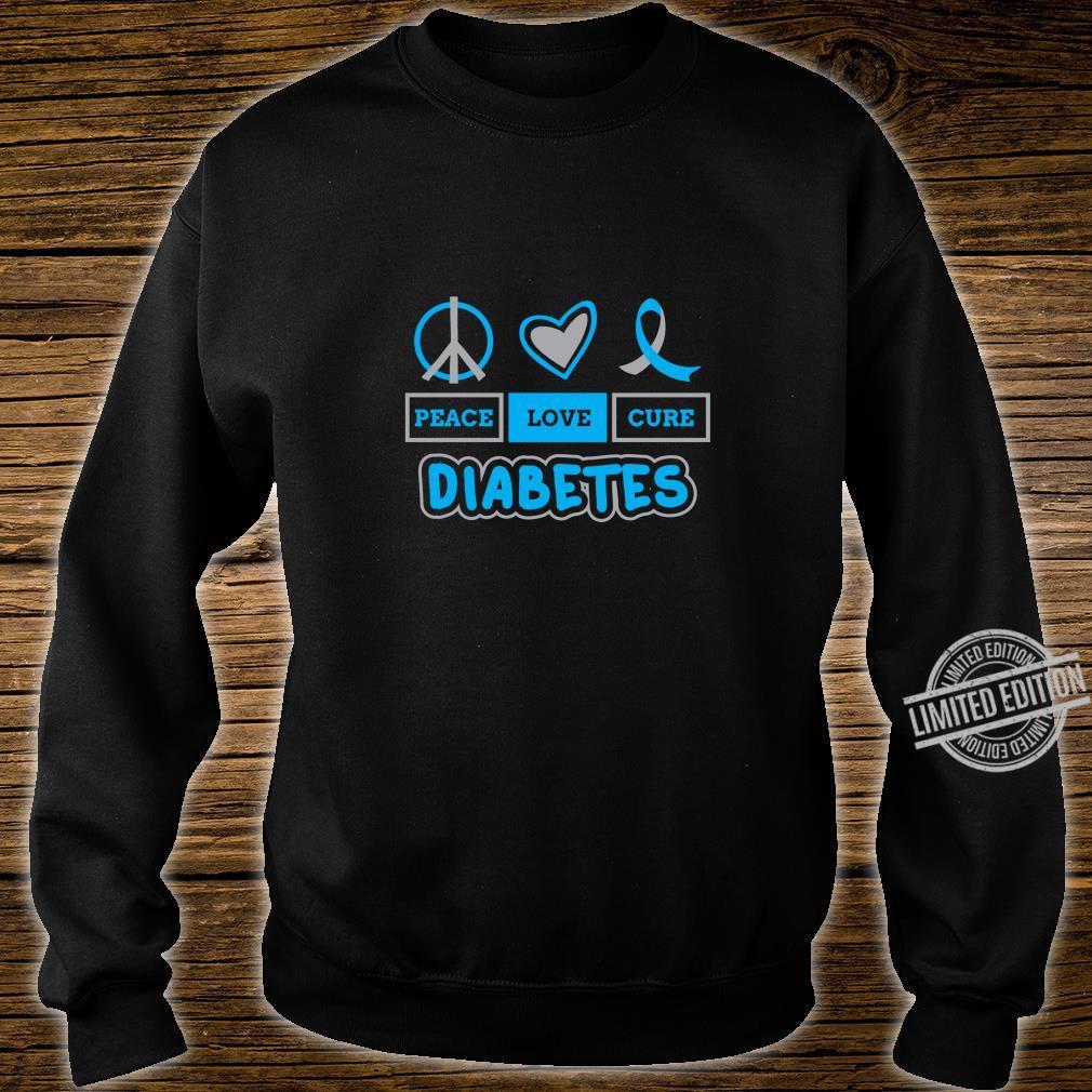 Peace Love Cure Diabetes Awareness Type 1 Blue Grey Ribbon Shirt sweater