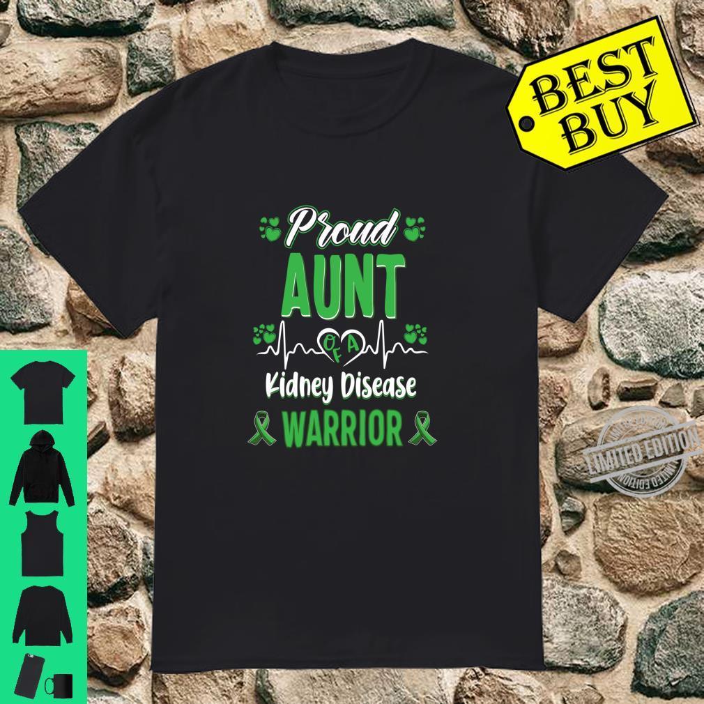 Proud Aunt kidney disease warrior awareness ribbon green Shirt