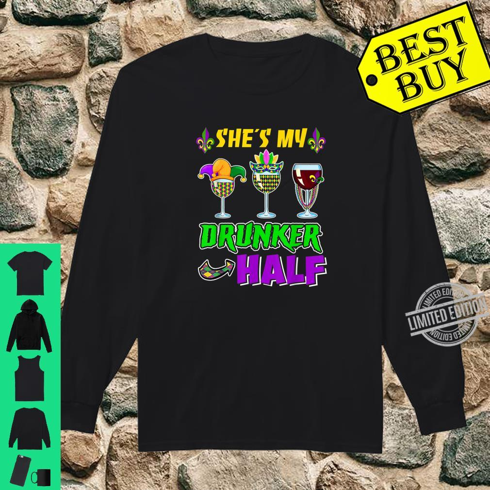 She's My Drunker Half Boyfriend Mardi Gras Couple Shirt long sleeved