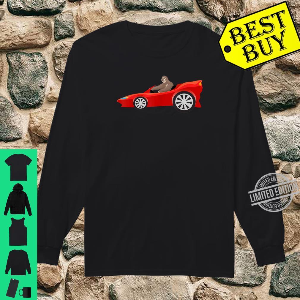 Sloth Driving Race Car Cute Lazy Animal Racer Shirt long sleeved