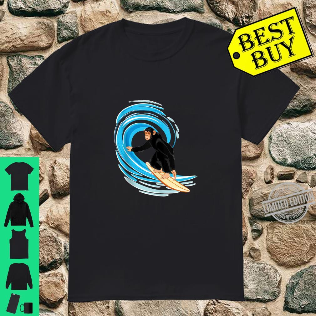 Surfing Monkey. Ape riding the tube wave on surfboard Shirt