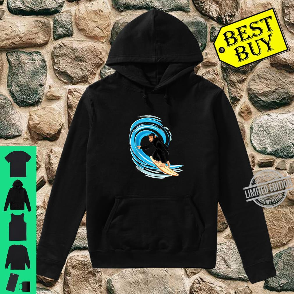 Surfing Monkey. Ape riding the tube wave on surfboard Shirt hoodie
