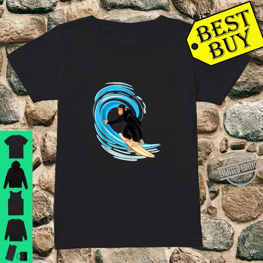 Surfing Monkey. Ape riding the tube wave on surfboard Shirt ladies tee