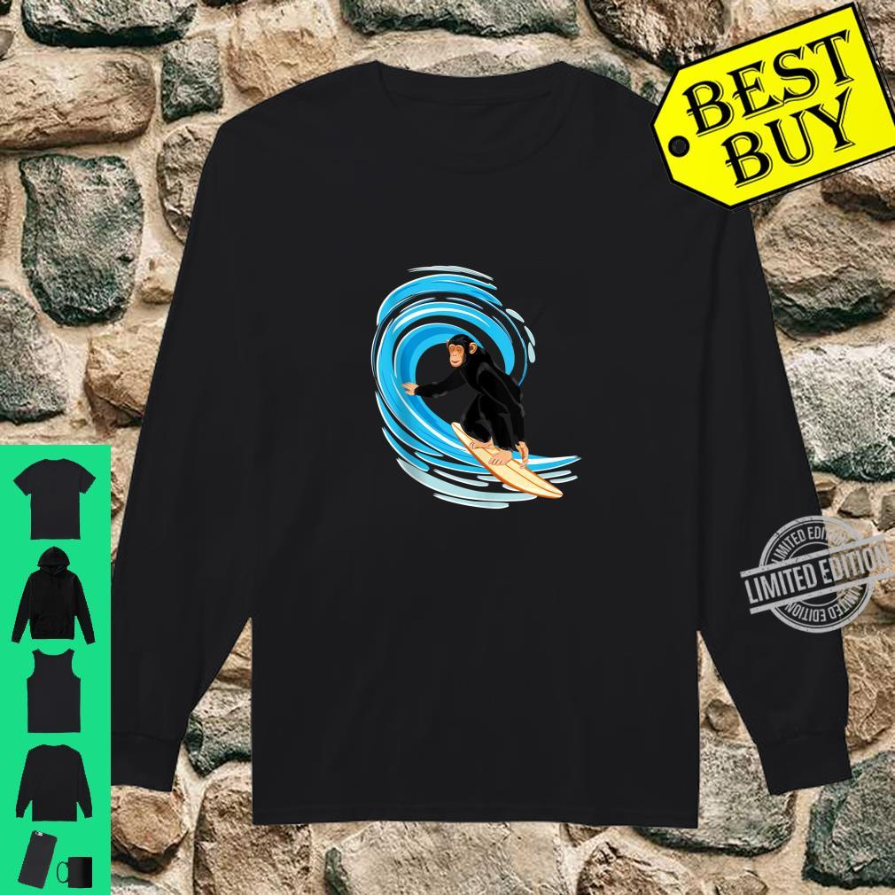 Surfing Monkey. Ape riding the tube wave on surfboard Shirt long sleeved