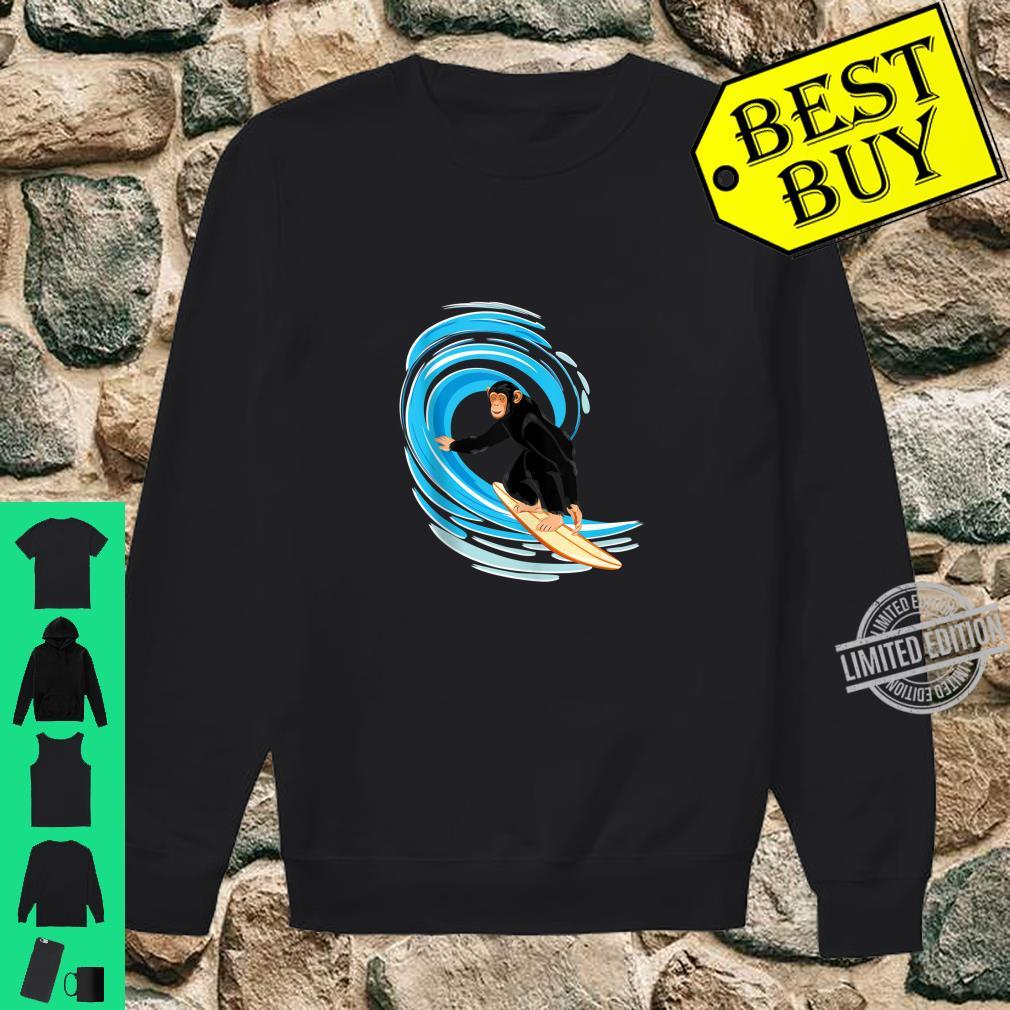 Surfing Monkey. Ape riding the tube wave on surfboard Shirt sweater