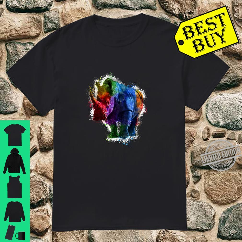 Trippy Bunte RegenbogenAquarell Rhino Art Langarmshirt Shirt